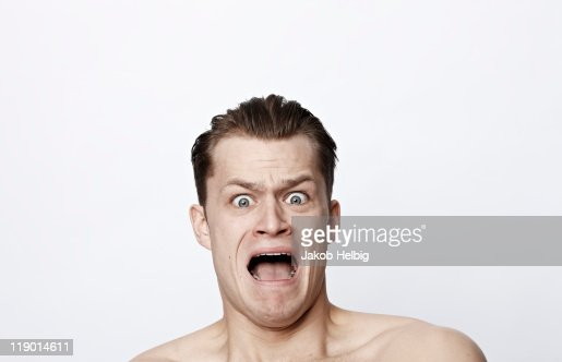 Nude man shouting : Stock Photo