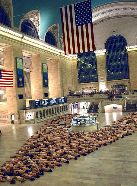 A Mass Nude Installation at Grand Central Station by