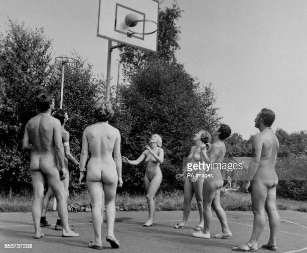 Nude players enjoying a game of mixed netball at Sheepcote near Orpington Kent during this week's World Naturist Congress Reporters were allowed...