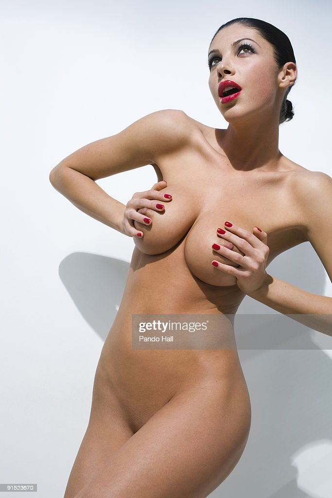 covered naked boobs with hands