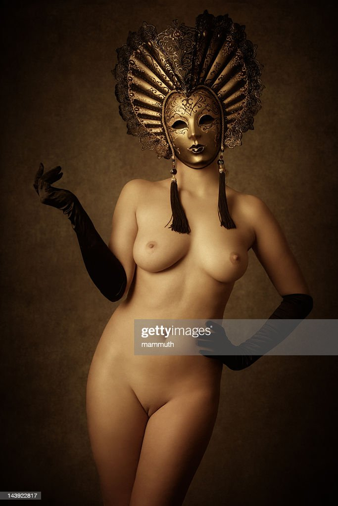 masked nude woman : Stock Photo