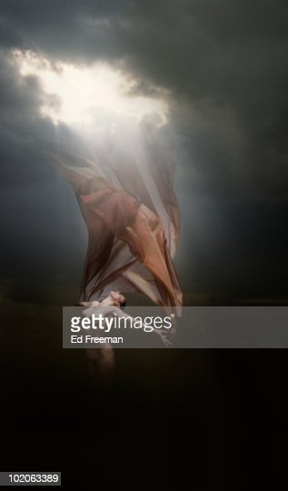 Nude Woman with Cloth Flying in Sun : Stock Photo