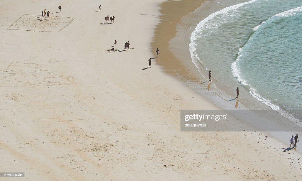 Nudist beach of Torimbia aerial view, council of Llanes, Asturias, Spain