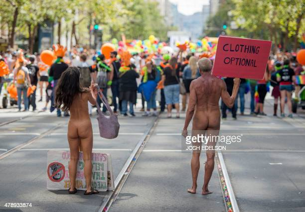 Nudists participate in the annual Gay Pride Parade in San Francisco California on June 28 two days after the US Supreme Court's landmark ruling...