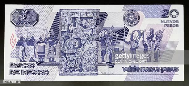 20 nuevos pesos banknote reverse Mexico 20th century