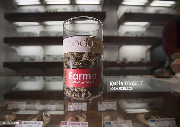 Nugs of 'Animal Cookie' are seen on a counter at Farma a marijuana dispensary in Portland Oregon on October 4 2015 As of October 1 2015 limited...