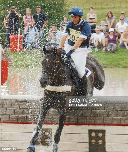 Nullarbor and Clayton Fredericks go through the water and go on to win the British Open Advanced Championship at Gatcombe Park during the cross...