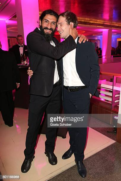 Numan Acar and Frederic Lau wearing Porsche Design during the European Film Awards 2015 afterparty at hotel Sofitel on December 12 2015 in Berlin...