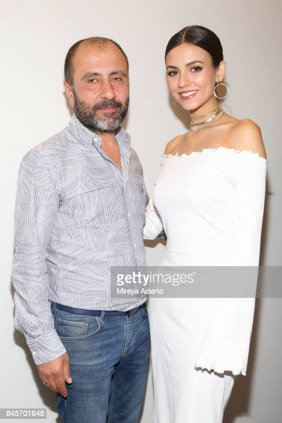 Numan Ataker and Victoria Justice attend the John Paul Ataker fashion show during New York Fashion Week The Shows at Gallery 1 Skylight Clarkson Sq...