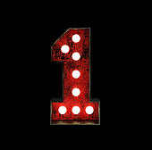 Number 1. Broadway Style Light Bulb Font made of Rusty Metal frame. 3d Rendering Isolated on Black Background