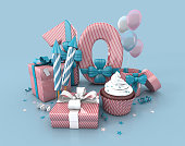 Number 10 , Decorated With Ribbon, Birthday Cupcake, Rockets, and Wrap Gifts. Birthday Concept Invitation. 3d render Illustration Isolated On Blue Background