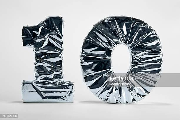 Number 10 wrapped in silver foil