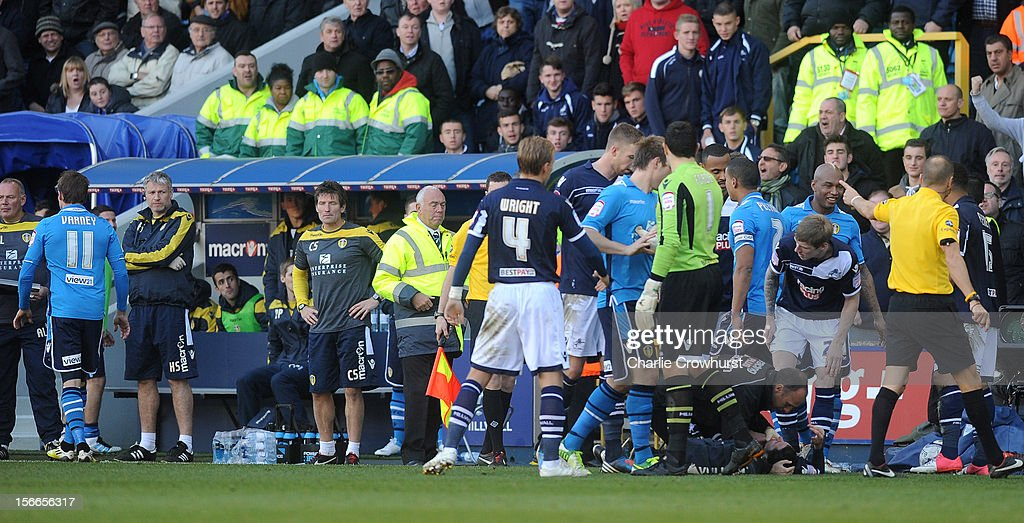 Number 11 Luke Varney of Leeds is sent off for an elbow to Adam Smith of Millwall during the npower Championship match between Millwall and Leeds United at The New Den on November 18, 2012 in London, England.
