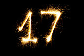 Number 17 made with sparklers  on black background
