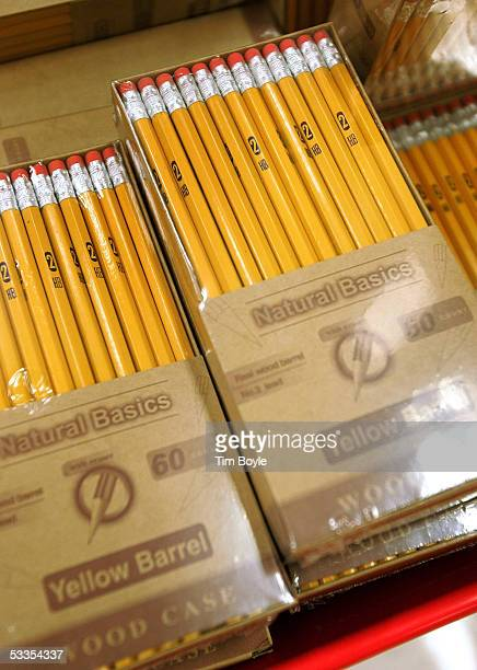 Number 2 pencils are displayed in the backtoschool section of a Target store August 11 2005 in Rosemont Illinois With the start of school nearing...