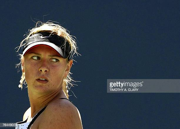 Number 2 seed Maria Sharapova of Russia plays against Number 30 seed Agnieszka Radwanska of Poland during their 3rd round match of the US Open Tennis...