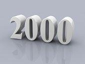 white metallic number 2000 on white background, digitally generated image.