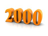 yellow metallic number 2000 on white background.digitally generated image.