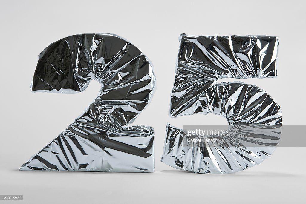 Number 25 wrapped in silver foil