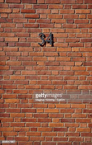 Number 34 On Brick Wall