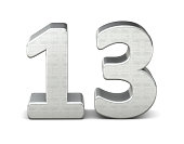 13 number 3d silver structure 3d rendering