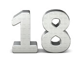 18 number 3d silver structure 3d rendering
