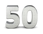 50 number 3d silver structure 3d rendering