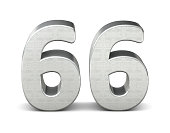 66 number 3d silver structure 3d rendering