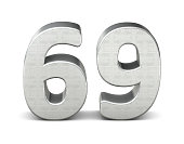 69 number 3d silver structure 3d rendering