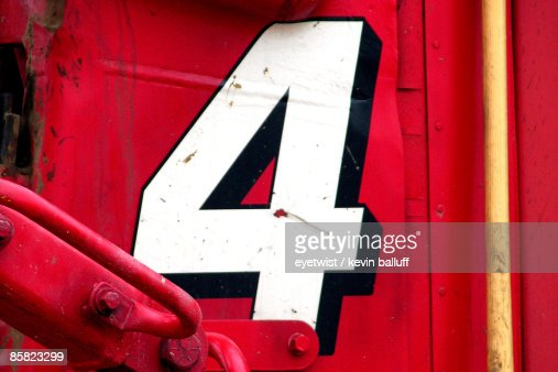 Number 4 on a red panel