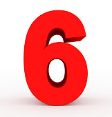 number 6 3d clean red isolated on white - 3d rendering