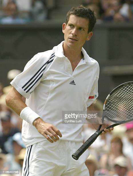 Number 6 seed Tim Henman is beaten at the Wimbledon Championships by Dmitri Tursunov currently ranked 100 in the world 36 62 36 63 86