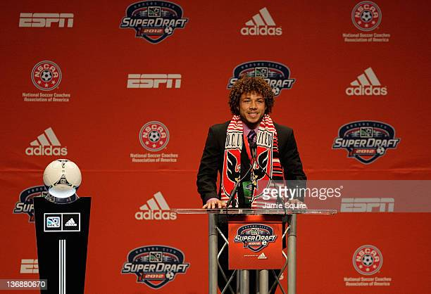 Number 7 overall pick Nick DeLeon selected by DC United talks to the media during the first round of the 2012 MLS SuperDraft presented by Adidas on...