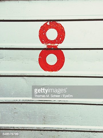 Number 8 On Metal Door