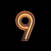 Number 9, Alphabet made from Neon Light with clipping path. 3D illustration