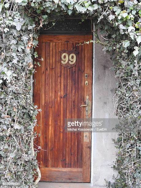 Number 99 House Address On Door With Ivy