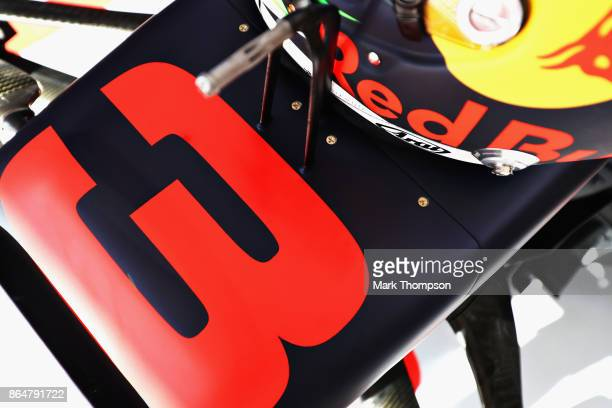 Number detail on the car of Daniel Ricciardo of Australia and Red Bull Racing during qualifying for the United States Formula One Grand Prix at...