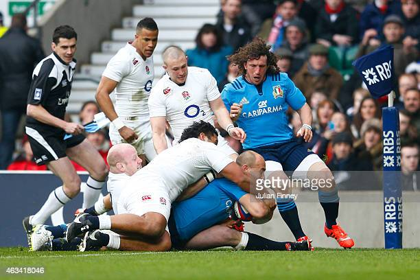 Number eight Sergio Parisse of Italy crashes over to score the opening try during the RBS Six Nations match between England and Italy at Twickenham...