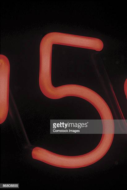 Number five on neon sign