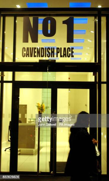 Number one Cavendish Place central London tonight as the HPA examined the property for traces of radiation