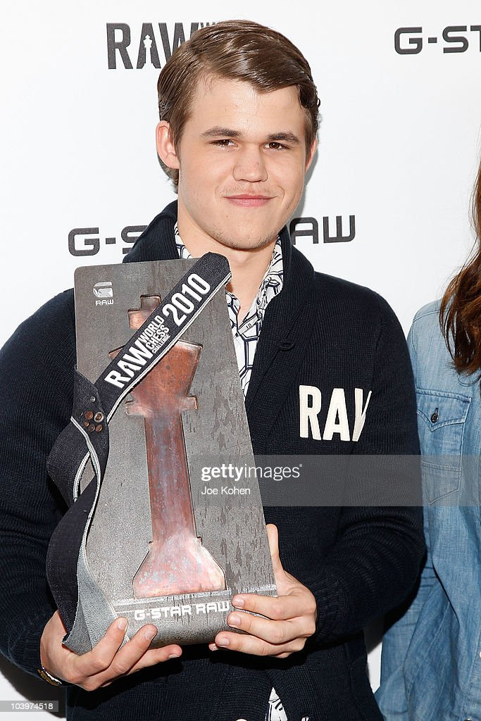 Number one chess player in the world <a gi-track='captionPersonalityLinkClicked' href=/galleries/search?phrase=Magnus+Carlsen&family=editorial&specificpeople=2602660 ng-click='$event.stopPropagation()'>Magnus Carlsen</a> attends the G-Star Raw World Chess Challenge at The Cooper Square Hotel on September 10, 2010 in New York City.
