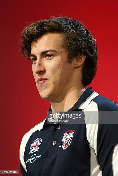 Number one draft pick Andrew Mcgrath of the Essendon Football Club speaks on stage during the 2016 AFL Draft at Hordern Pavilion on November 25 2016...