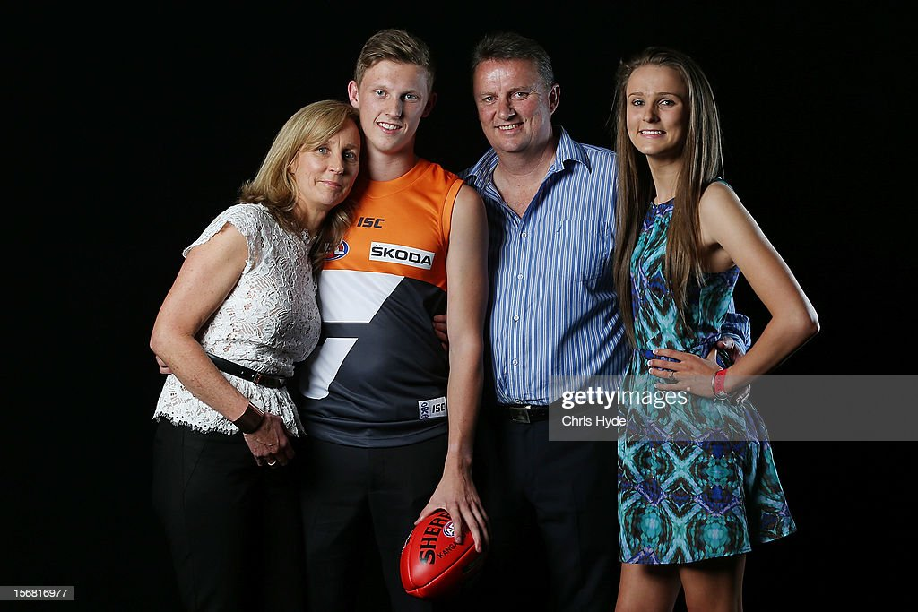 Number one draft to GWS Lachie Whitfield poses with his mother Maryanne, father Richard and sister Emma during the 2012 AFL Draft at the Gold Coast Exhibition Centre on November 22, 2012 on the Gold Coast, Australia.
