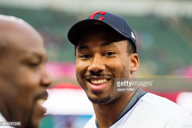 Number one NFL draft pick and the newest member of the Cleveland Browns Myles Garrett smiles prior to the game between the Cleveland Indians and the...