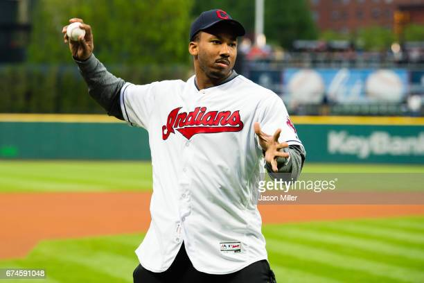 Number one NFL draft pick and the newest member of the Cleveland Browns Myles Garrett throws out the first pitch prior to the game between the...