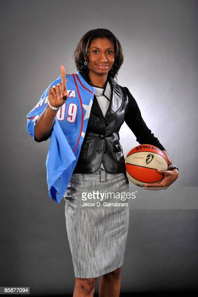 Number one overall pick Angel McCoughtry of the Atlanta Dream poses for a portrait during the 2009 WNBA Draft on April 9 2009 in Secaucus New Jersey...