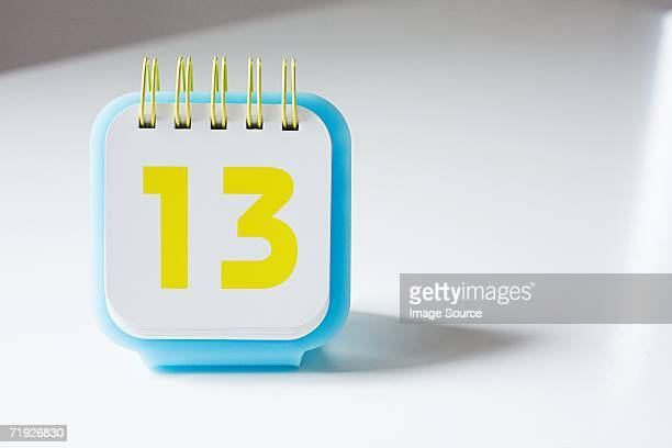Number thirteen on a calendar