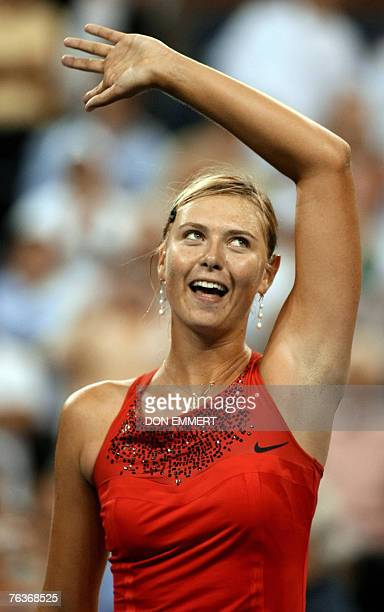 Number two seeded Maria Sharapova of Russia celebrates her victory over Roberta Vinci of Italy 28 August 2007 at the US Open in Flushing Meadows NY...