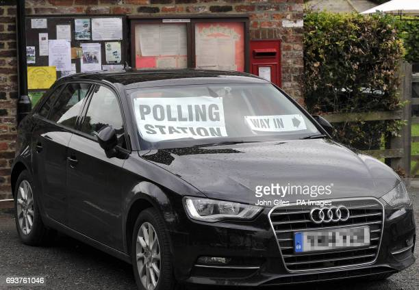 Numberplate pixelated by PA Picture Desk A car parked in the village of Appleton Roebuck near York that is being used as polling station for the 2017...
