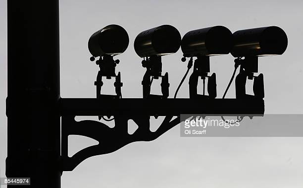 Numberplate recognition cameras stand at an entrance to the Congestion Charge zoneon March 16 2009 in London London Mayor Boris Johnson is...
